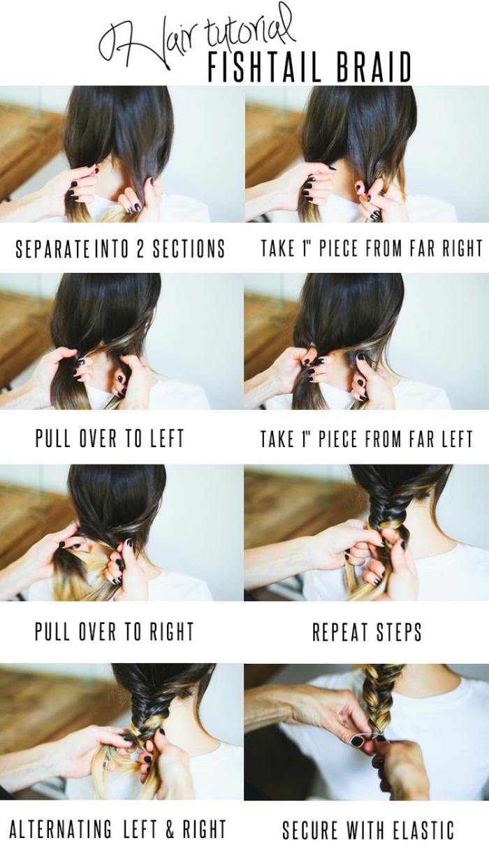 tutoriel avec les étapes à suivre pour faire une tresse originale sur cheveux longs et légèrement éclaircis