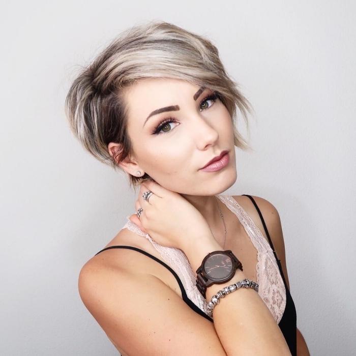 modele de coupe de cheveux, idée comment styliser les cheveux courts avec frange de côté