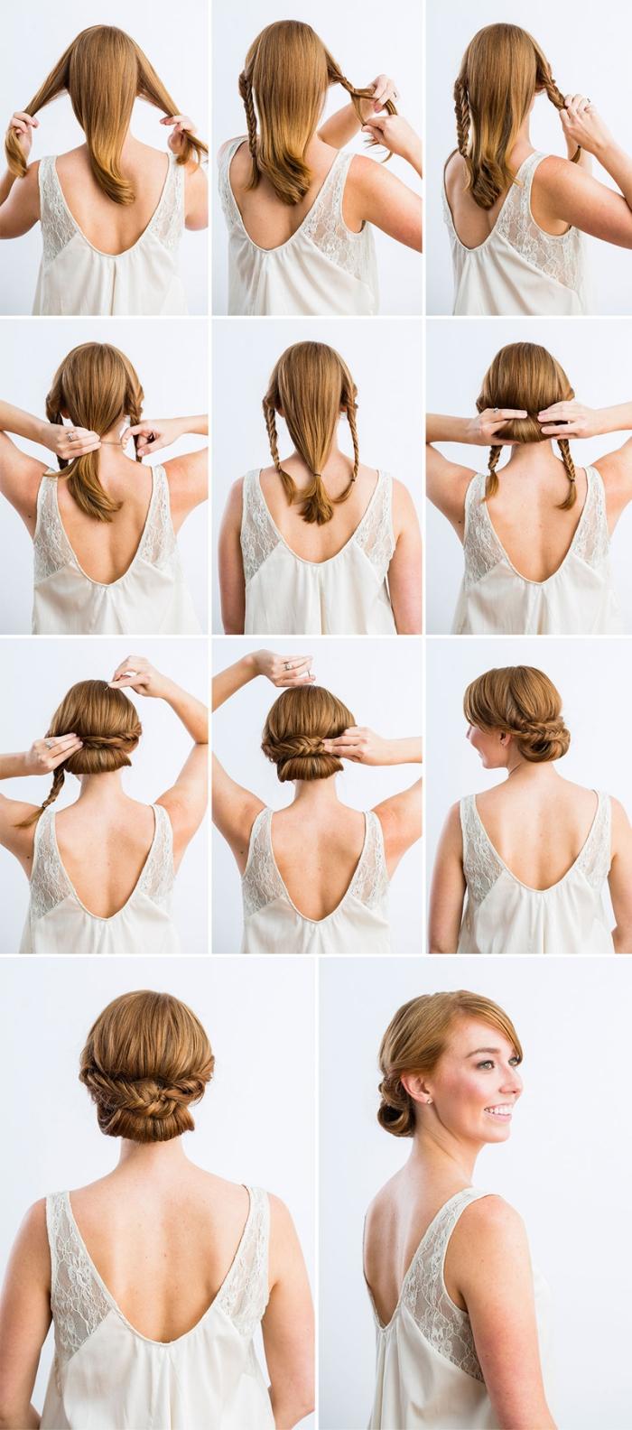 tuto coiffure facile, étapes à suivre pour réaliser une coiffure en cheveux en mèches torsadées et tresses