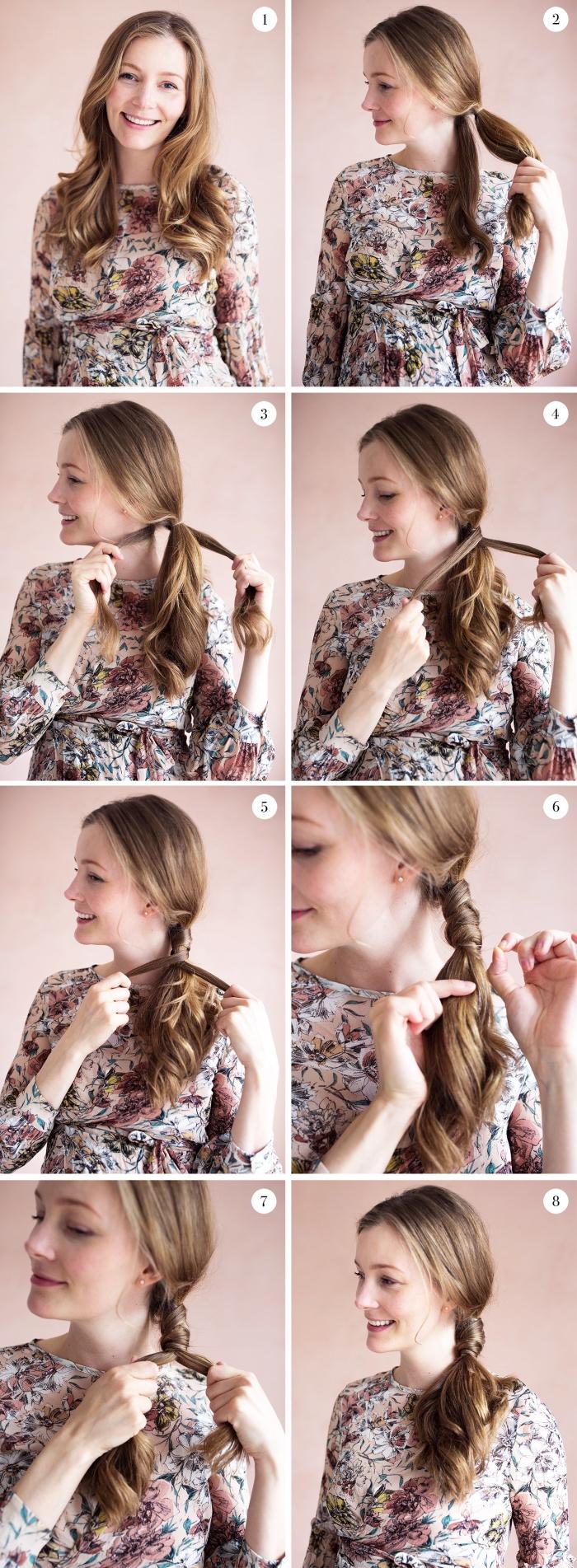 coupe de cheveux femme, tutoriel avec photo pour attacher les cheveux longs en queue original de côté