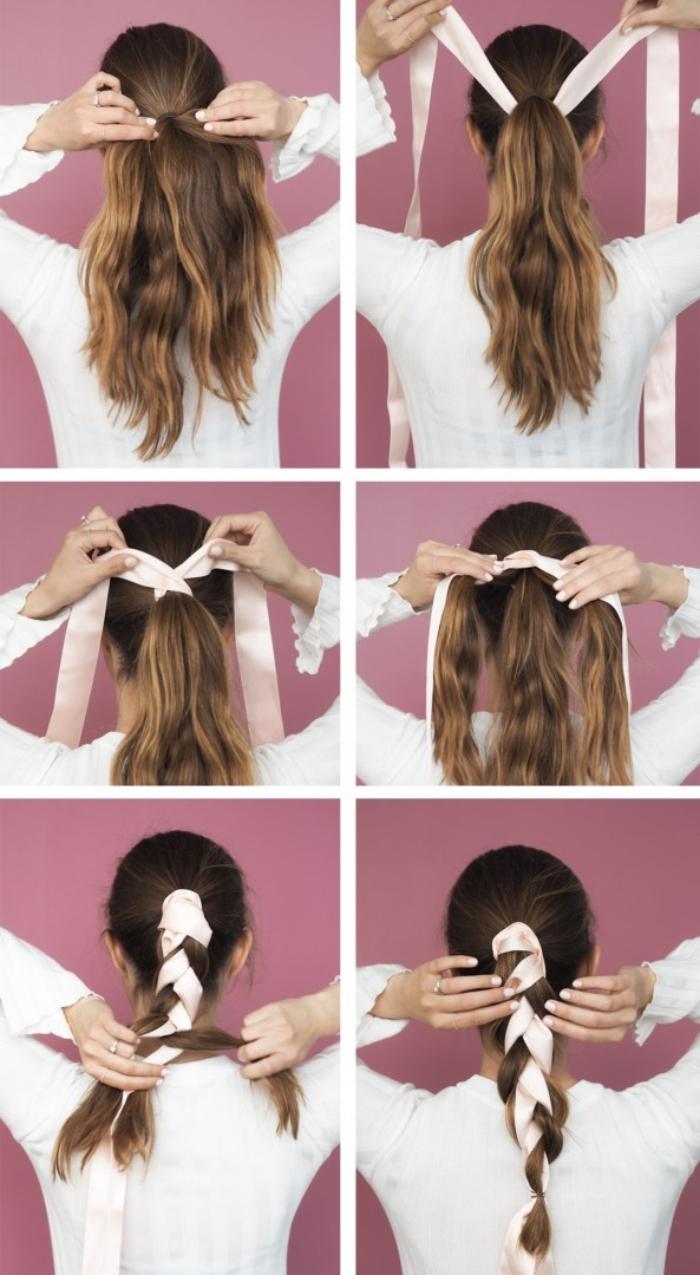 tutoriel pour faire une coiffure en queue de cheval avec ruban long de nuance rose pastel
