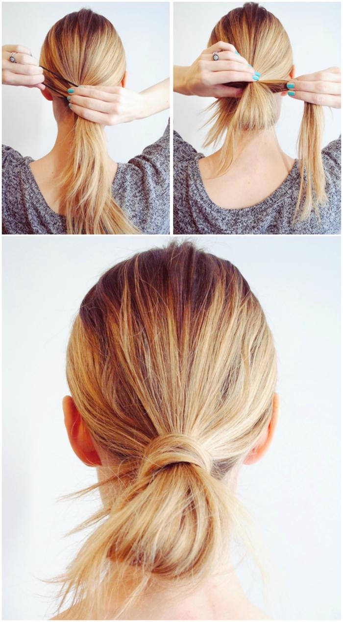 une coiffure noeud express avec chignon bas décontracté idéal pour les matins préssés