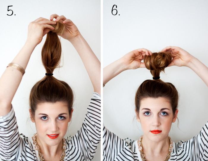 comment faire un chignon bun classique à l'aide d'un donut, tuto coiffure express pour tous les jours