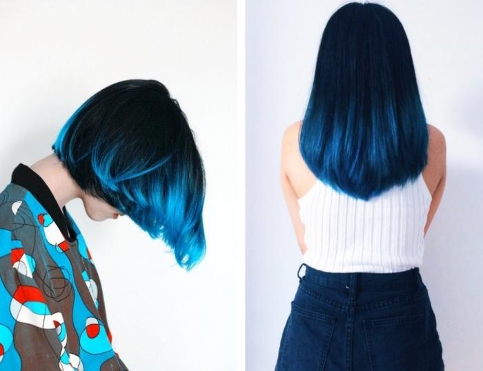 tie and dye brune, idée comment réaliser une coloration de nuance bleu foncé sur cheveux de base foncée