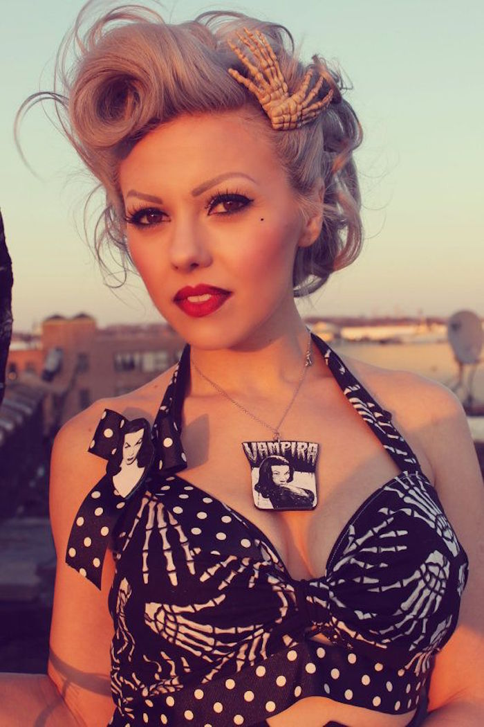 coupe rockabilly blonde tuto victory rolls pin up retro