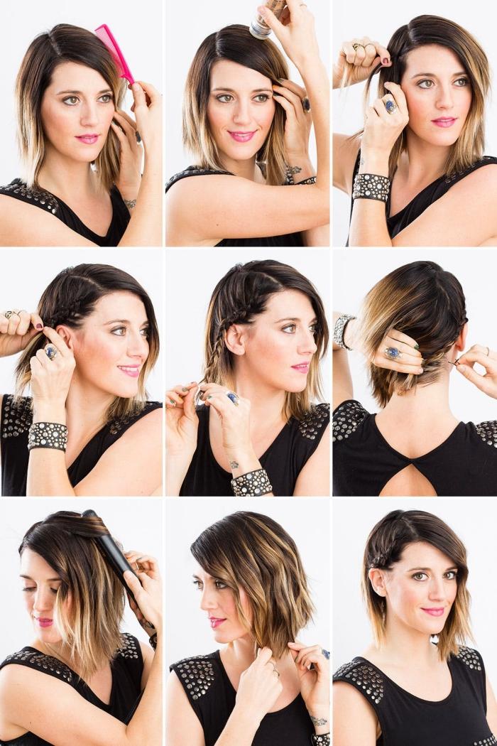 modele de coiffure, coupe de cheveux mi-longs de base marron avec pointes éclaircies et tresse collée de côté