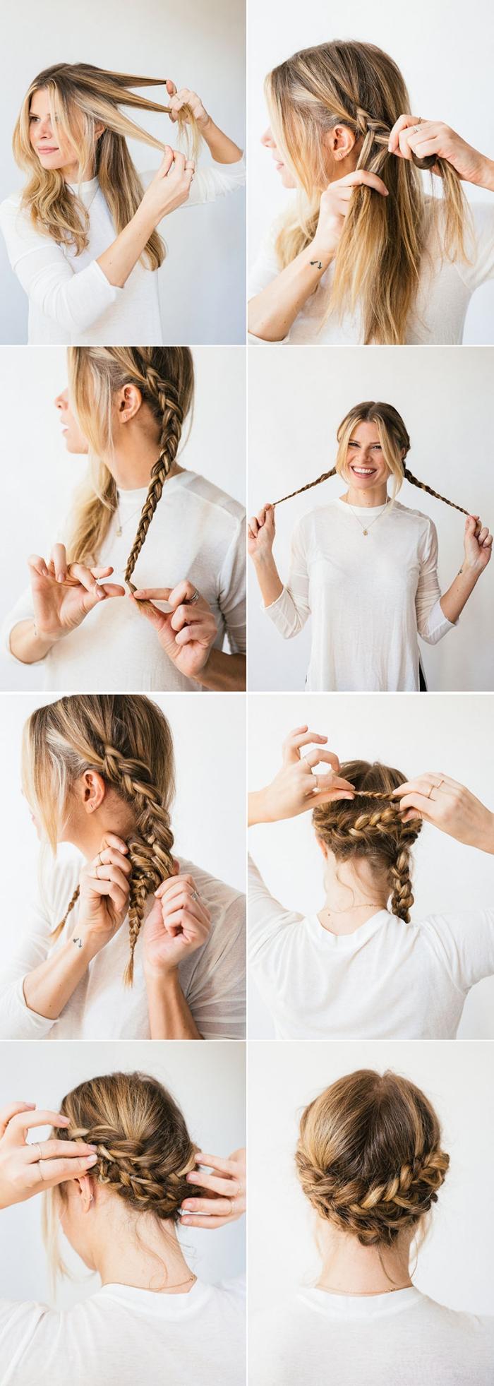 coiffure femme, étapes à suivre pour réaliser une coiffure aux cheveux attachés et tressés en couronne basse