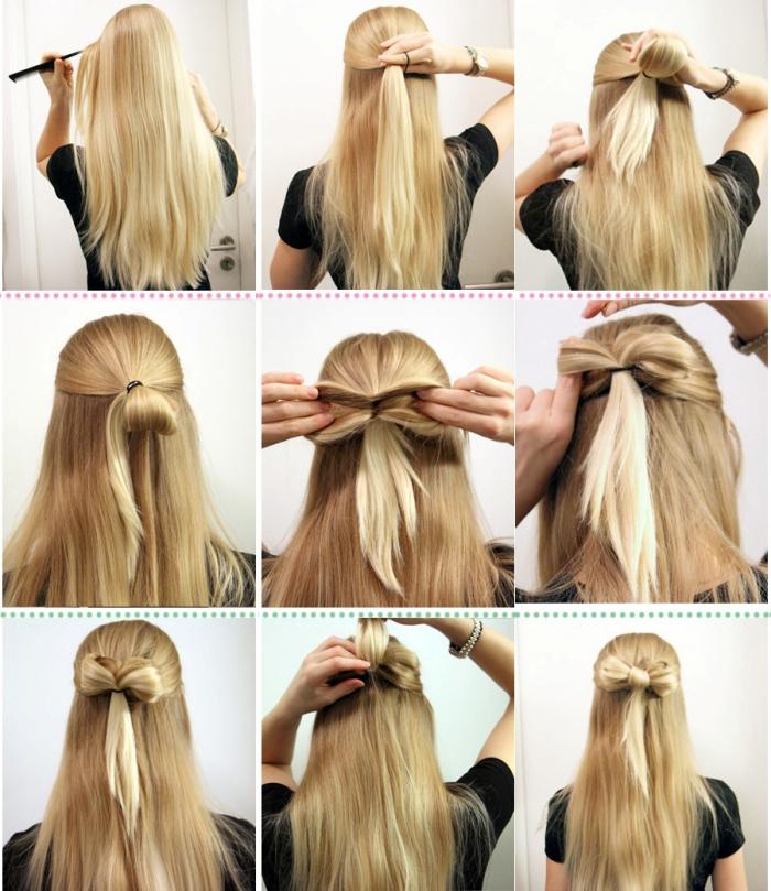 tendance coiffure, cheveux longs et blonds attachés en papillon, comment réaliser une coiffure pour la saint valentin