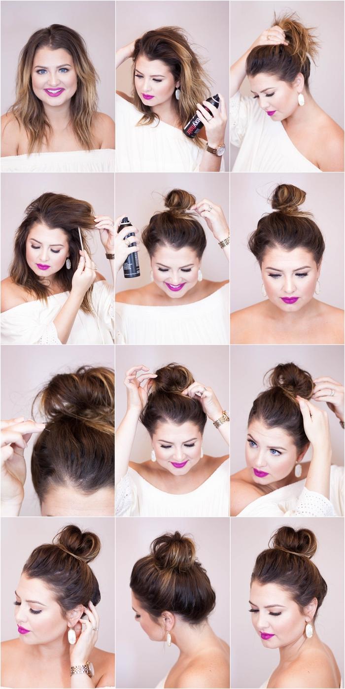 tutoriel pour attacher les cheveux longs en chignon haut et décontracté en utilisant spray fixante et élastique
