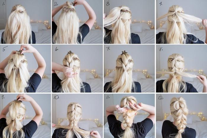 tutoriel pour maitriser la technique de tressage des cheveux, coiffure originale en cheveux longs attachés en tresse