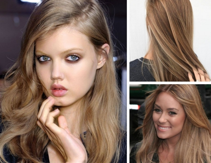 blond foncé cendré, coiffure femme aux cheveux longs et raids de nuance châtain clair, maquillage aux lèvres roses et mascara noir