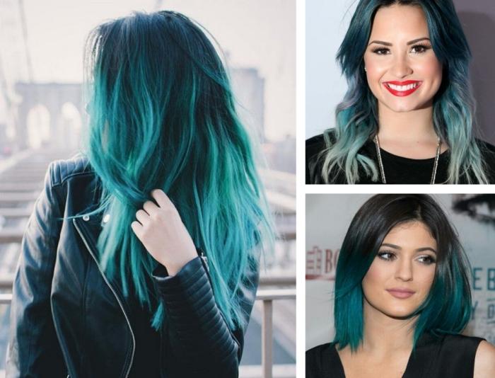 tie and dye brune, coiffure de Demi Lovato aux cheveux longs légèrement bouclés avec coloration bleu pastel
