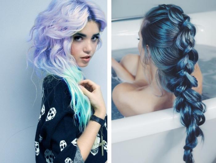 coiffure d'inspiration sirène sur cheveux longs et noirs colorés de mèches bleues et stylisés en tresse longue