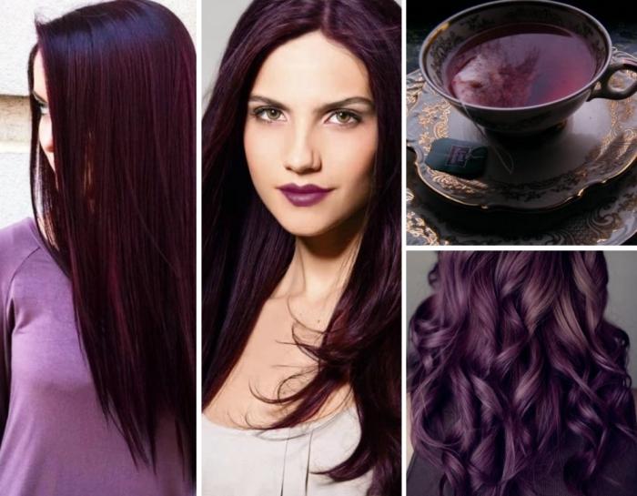 les cheveux violet pour qui, coloration de cheveux tendance 2018, teinture de nuance violet foncé