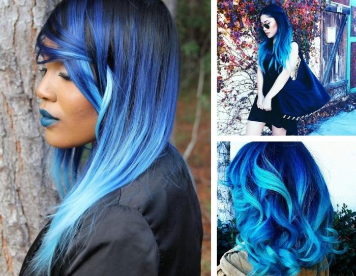 tie and dye brune, coloration semi permanente sur cheveux noirs avec pointes pastel et mèches bleu foncé