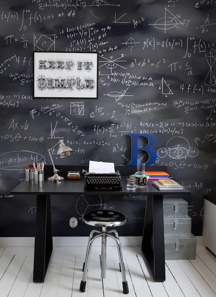 comment décorer un coin bureau vintage avec bureau noir, tabouret gris en metal, parquet blanchi, mur en peinture à la craie, formules, équations mathématiques