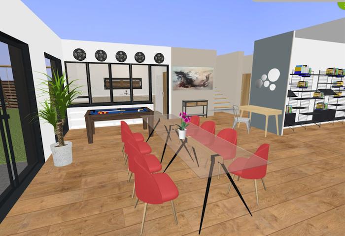 chaise en plastique rouge, table en verre transparente, idée design salle de séjour, plantes vertes d interieur