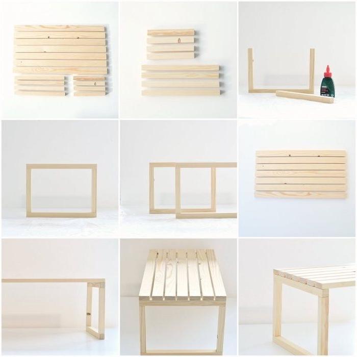 tuto comment fabriquer sa table basse en lattes de bois assemblées à l aide de colle, bricolage facile maison