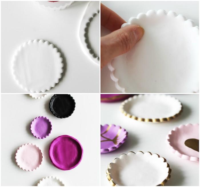 tuto pate fimo, comment faire de petites assiettes de rangement colorées, présentoir à bijoux diy