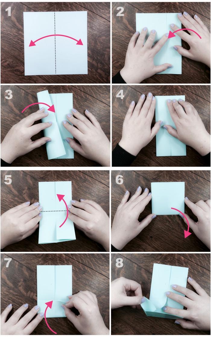 explications en photos pour apprendre à plier un modèle de bateau origami à vapeur, activité ludique et intelligente pour enfants avec papier