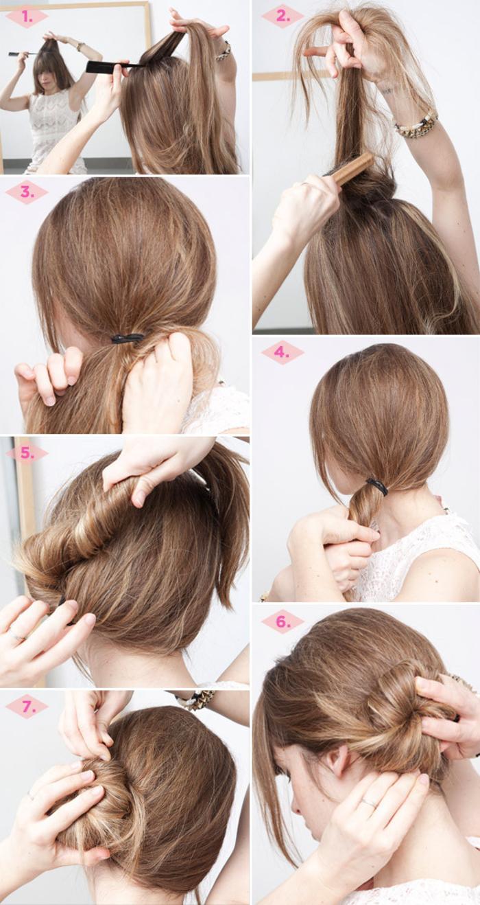 tuto pour réaliser un chignon flou de côté en torsadant les cheveux
