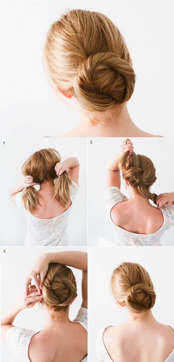 une coiffure noeud rapide et simple avec un chignon torsadé en bas du crâne