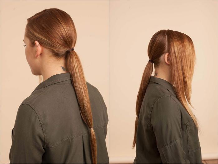 idée pour une coiffure chic avec chignon bas demi-queue-de-cheval réalisé sur cheveux longs, lisses et brillants