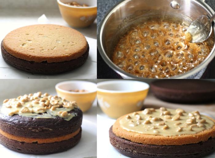 recette originale de gateau d'anniversaire au chocolat et à la crème dulce de leche saveur snickers gâce aux cacahuètes caramélisées