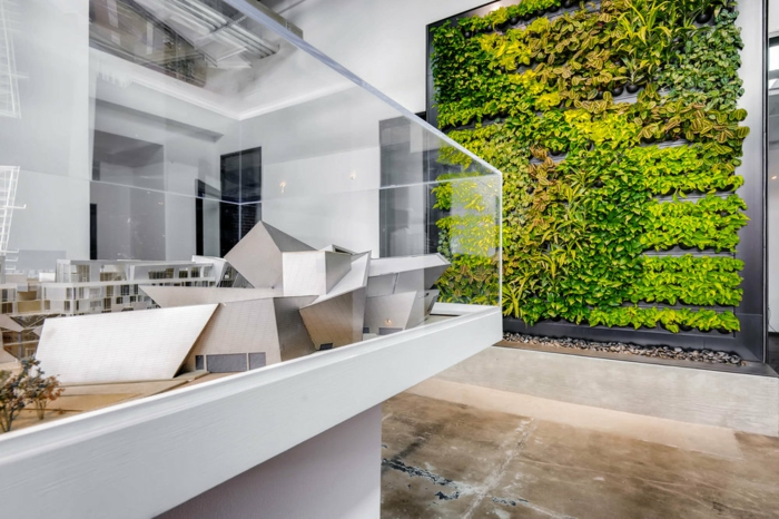 mur végétal intérieur, une maison avec intérieur moderne et stylé, grand jardin vertical