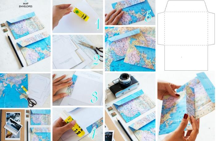 enveloppe kraft, étapes à suivre pour réaliser une enveloppe en utilisante une feuille avec carte de monde et colle
