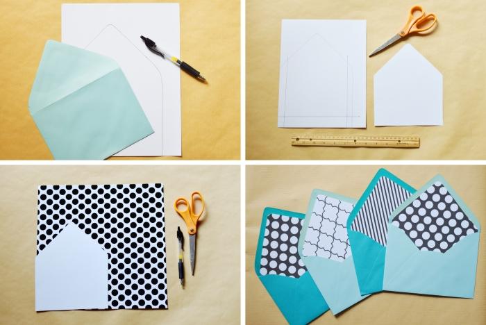 faire une enveloppe avec une feuille a4, découper un morceau de papier à design géométrique pour personnaliser une enveloppe