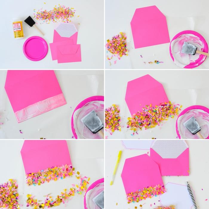 faire une enveloppe avec une feuille a4, décoration sur enveloppe rose à réaliser avec confetti et colle