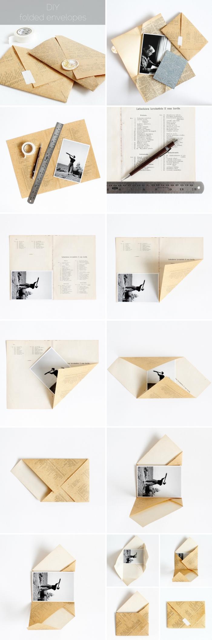 fabriquer une enveloppe, étapes à suivre pour envelopper une photo ou carte postale en papier page de journal