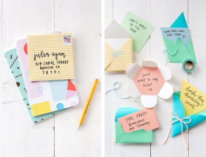enveloppe carrée, idée pour faire une enveloppe de formes variées diy en papier coloré et motifs géométriques