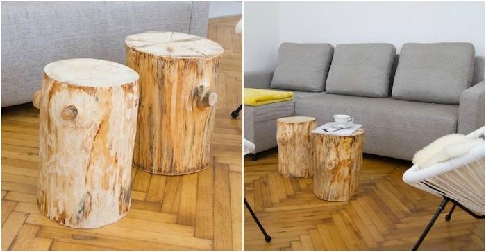 modele de table basse bois brut, des tronc de bois transformés en petites tables rustiques, canapé gris