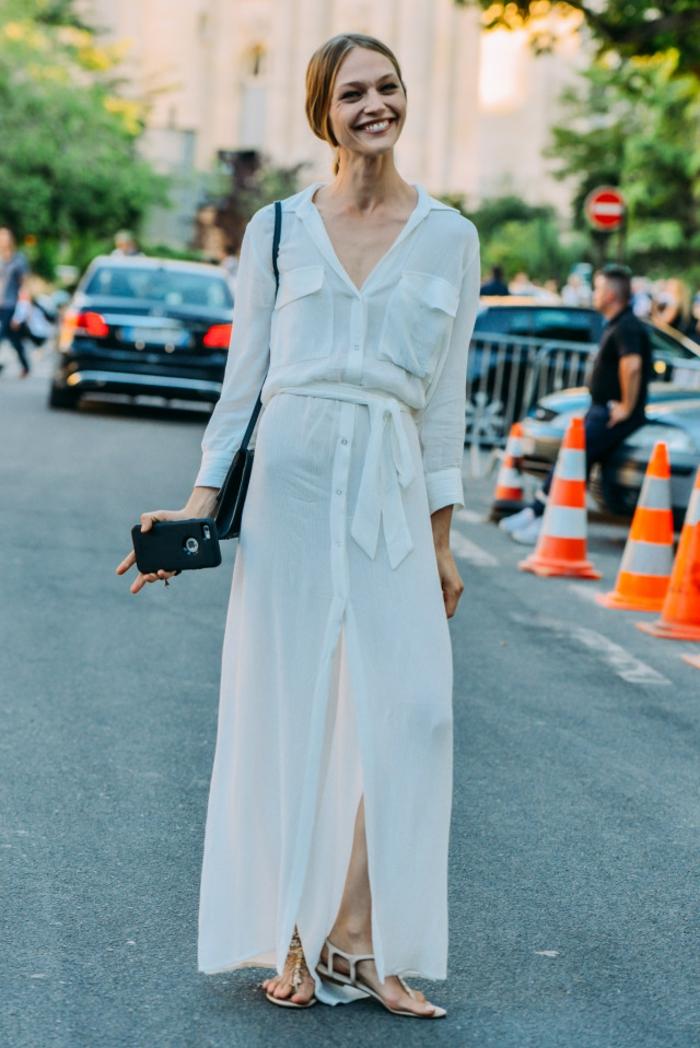 Etre une femme bien habillée robe de soirée manche longue robe blanche longue chemisier
