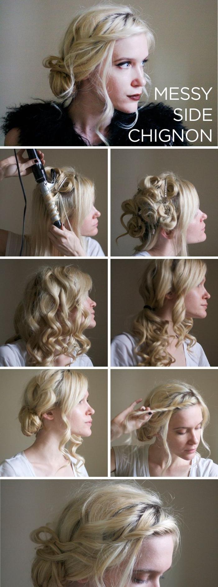une coiffure bohème chic avec un chignon bouclé asymétrique et messy