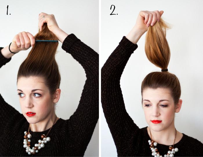 une coiffure pour les nuls avec un chignon haut réalisé à partir une queue-de-cheval haute dont les longueurs sont enroulées autours l'élastique