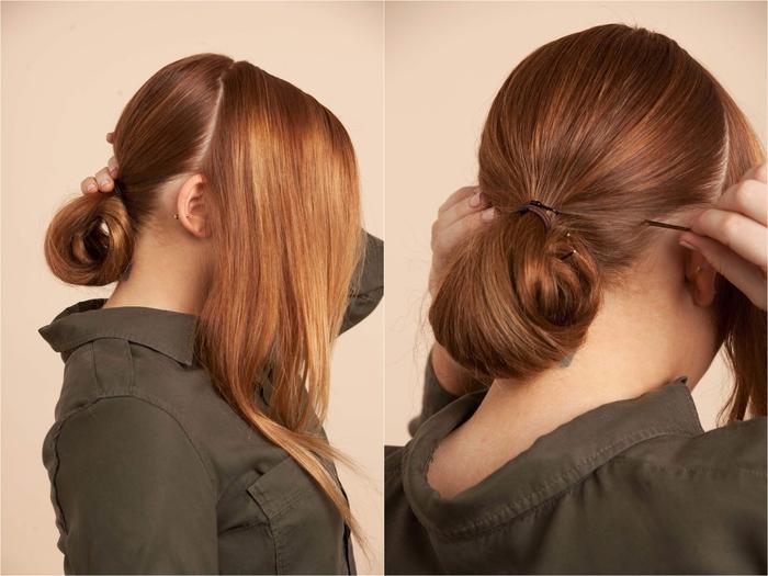 tuto pour réaliser un chignon facile demi-queue-de-cheval, idée pour une coiffure simple et rapide idéale pour une occasion spéciale