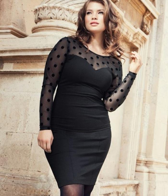 robe ceremonie femme ronde, comment s habiller quad on est ronde, robe bustier avec décolleté et manches en tulle et plumetis noir, zone jupe moulante, longueur mini