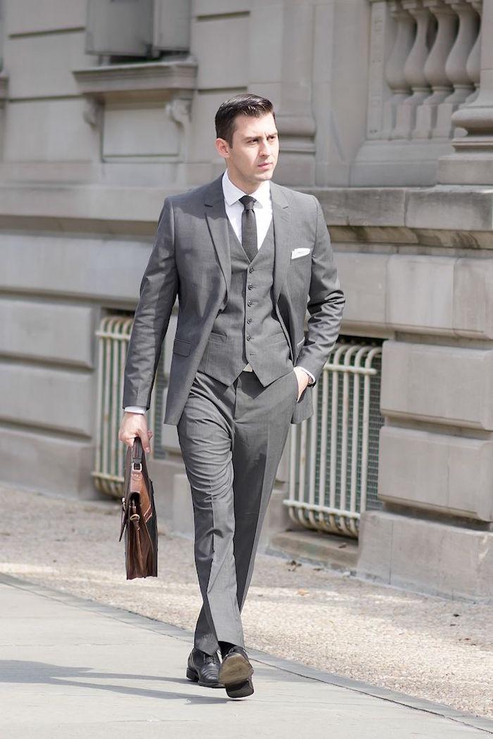 jules costume 3 pièces gris homme cravate chemise blanche
