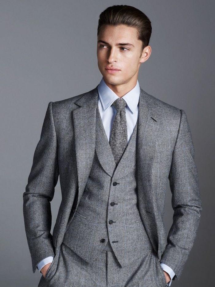 costume 3 pièces gris à carreaux cravate vintage