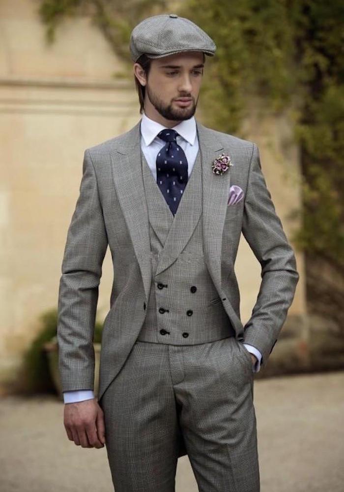 costume trois pièces homme gris vintage années 30