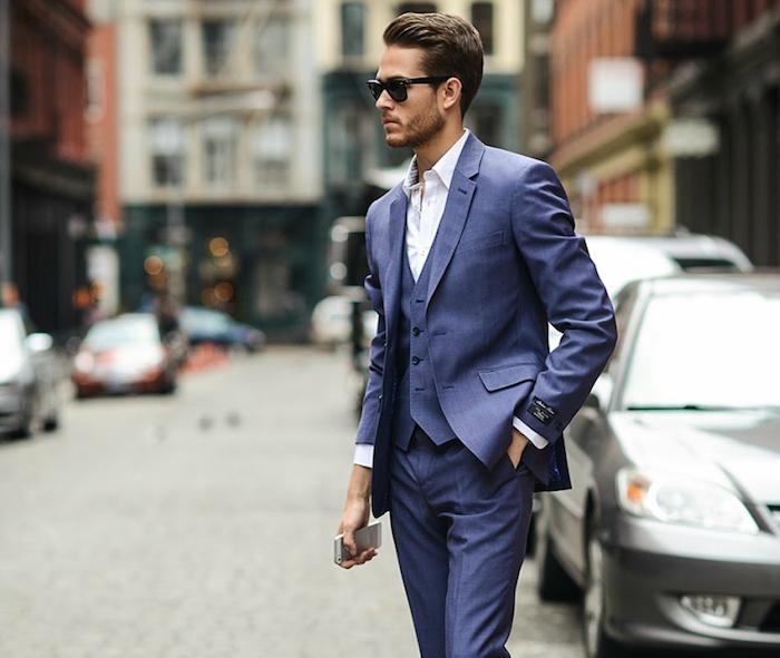costume bleu roi homme 3 pièces violet coton
