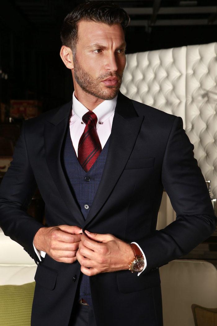veste de costume homme noire costard 3 pièces bleu