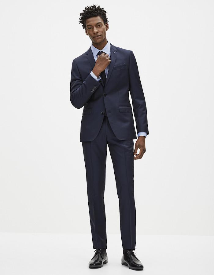 costume celio homme laine bleu marine en soldes coupe slim