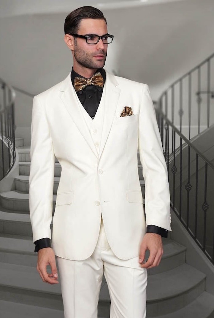 costume homme blanc noeud papillon 3 pieces
