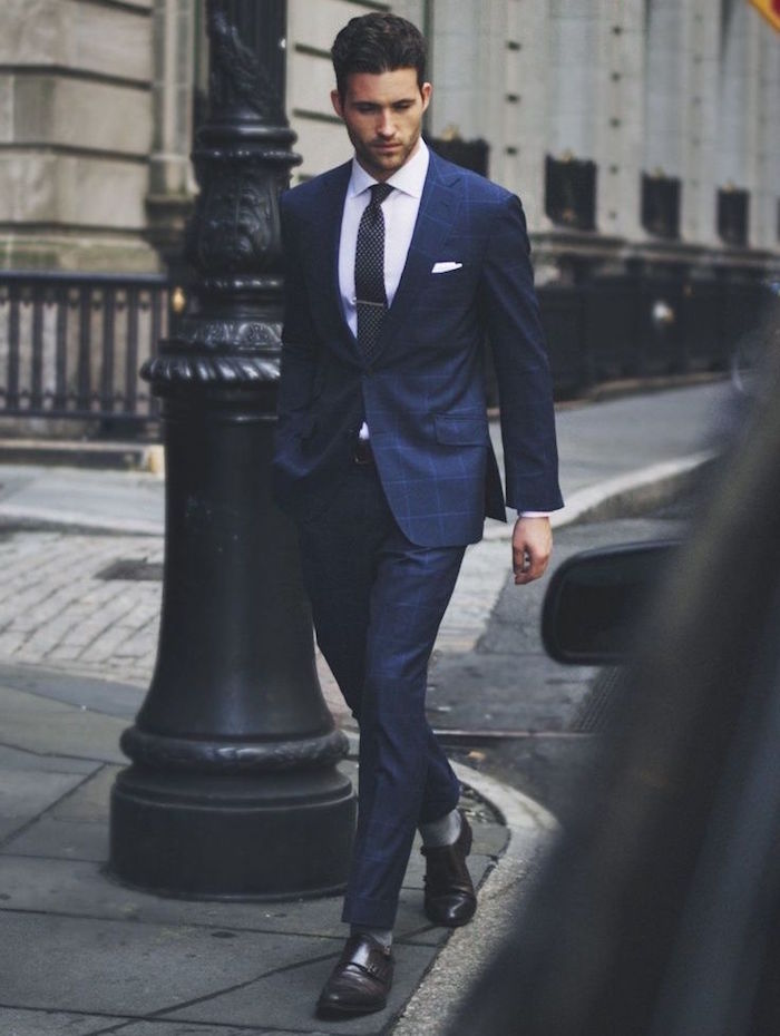 bleu petrole costume homme slim nuit marine carreaux
