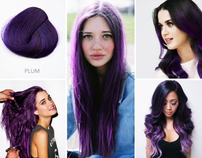 coloration cheveux tendance 2018 de nuance violet prune, maquillage pour visage bleus parsemé de tâches de rousseur