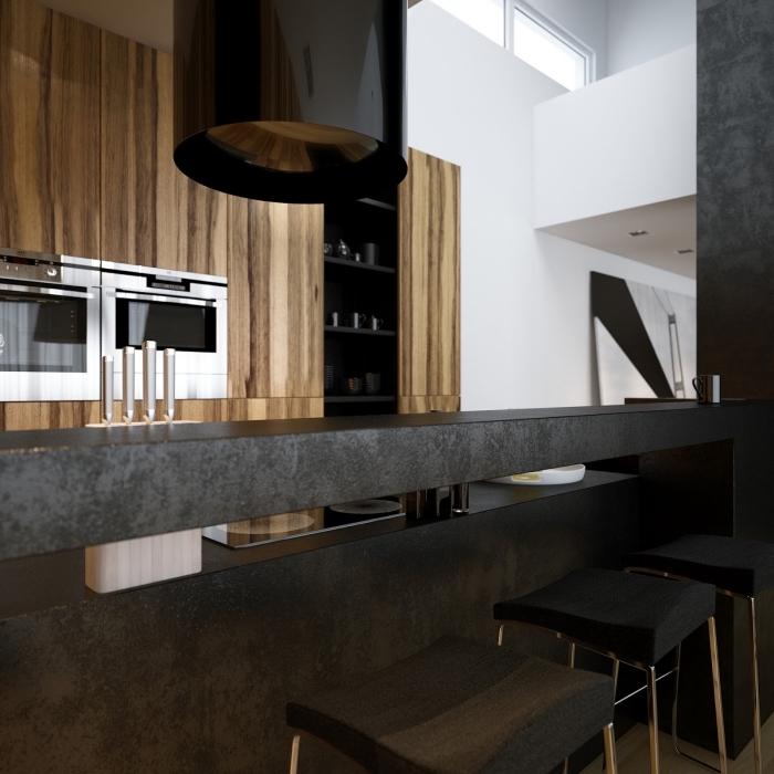 tendance intérieur avec bois et noir, modèle de cuisine contemporaine avec ilot central noir et plafond suspendu